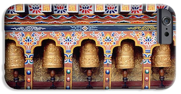 Buddhism iPhone Cases - Prayer Wheels In A Temple, Chimi iPhone Case by Panoramic Images