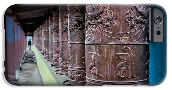 Tibetan Buddhism iPhone Cases - Prayer Wheels iPhone Case by James Wheeler