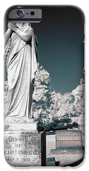 Headstones iPhone Cases - Prayers of a Wingless Angel - Greensboro NC II iPhone Case by Dan Carmichael