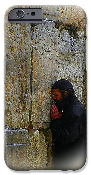 Sacrifice Mixed Media iPhone Cases - Praying At The Western Wall iPhone Case by Michael Braham