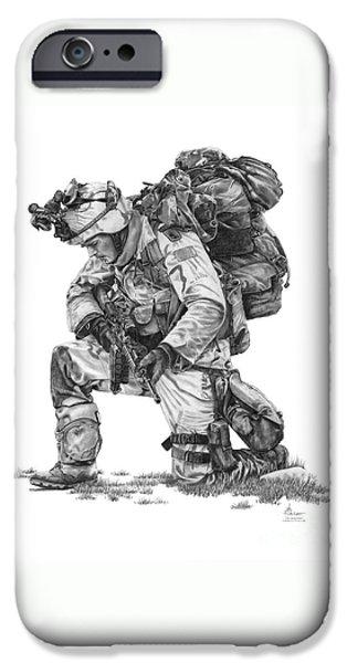 Praying  Soldier  iPhone Case by Murphy Elliott