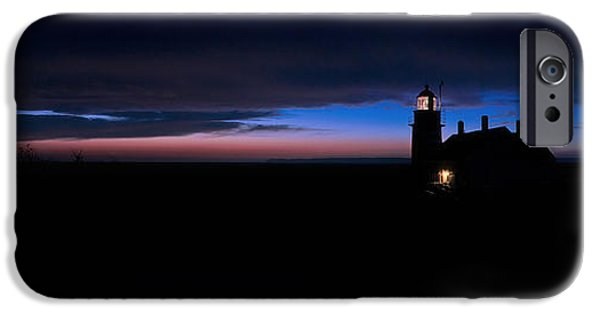 East Quoddy Lighthouse iPhone Cases - Pre Dawn Light Panorama at Quoddy iPhone Case by Marty Saccone