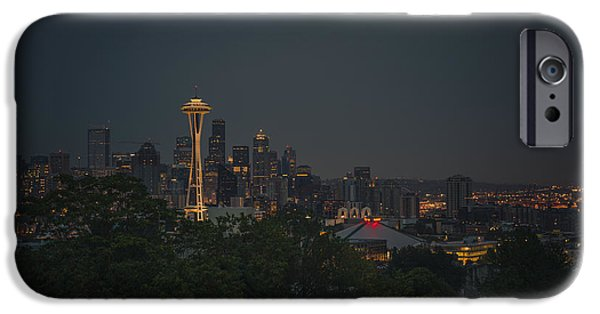 Seattle iPhone Cases - Pre-dawn Seattle iPhone Case by Gene Garnace