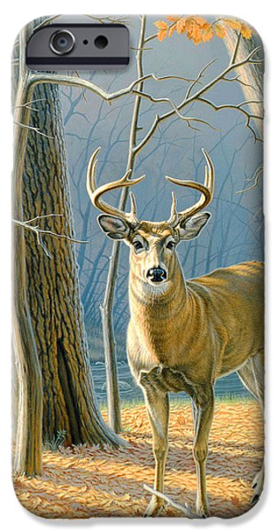 Fall Scenes Paintings iPhone Cases - Pre-Flight- Whitetail Buck iPhone Case by Paul Krapf