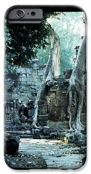 Tree Roots iPhone Cases - Preah Khan Temple 01 iPhone Case by Rick Piper Photography