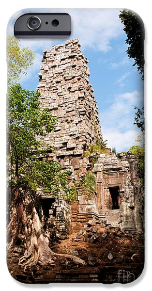 Tree Roots iPhone Cases - Preah Palilay Temple 01 iPhone Case by Rick Piper Photography