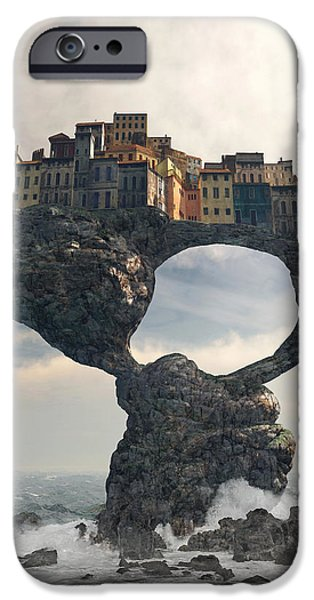Towns Digital Art iPhone Cases - Precarious iPhone Case by Cynthia Decker