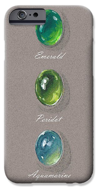 Food And Beverage Jewelry iPhone Cases - Precious emerald and peridot iPhone Case by Marie Esther NC