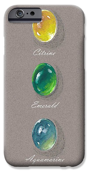 Food And Beverage Jewelry iPhone Cases - Precious emerald aquamarine and citrine iPhone Case by Marie Esther NC