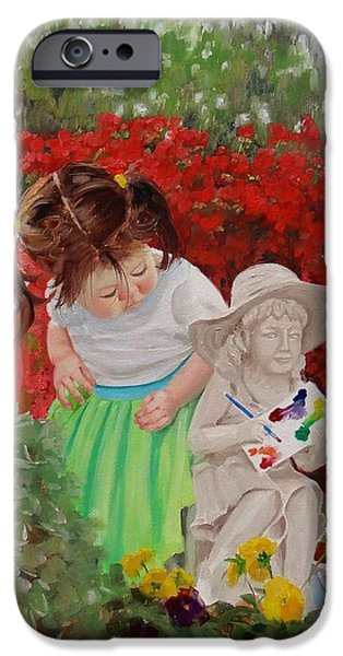 Little Girl iPhone Cases - Precious Memories Two iPhone Case by Laura Lee Zanghetti