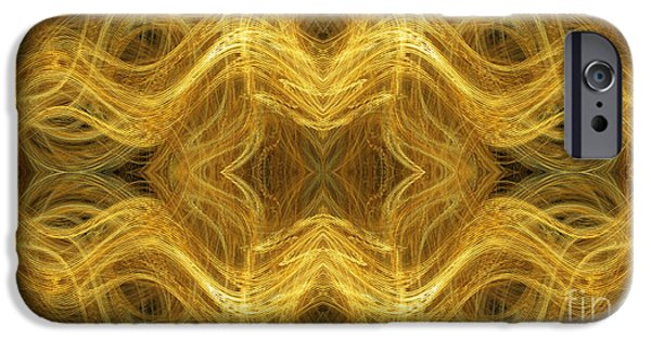 Concept Mixed Media iPhone Cases - Precious Metal 3 Ocean Waves Panorama iPhone Case by Andee Design