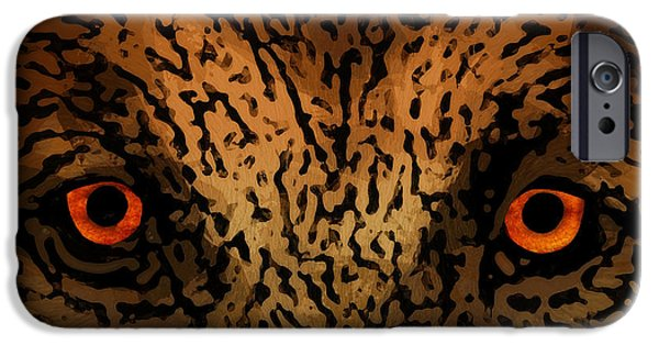 Cheetah Digital Art iPhone Cases - Predator Eyes iPhone Case by Daniel Hagerman