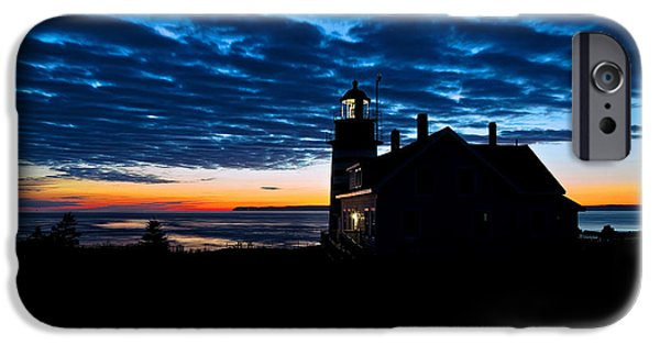 East Quoddy Lighthouse iPhone Cases - Predawn Light at West Quoddy Head Lighthouse iPhone Case by Marty Saccone