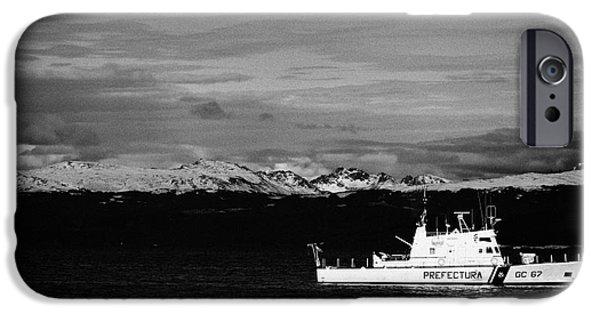 Coastguard iPhone Cases - prefectura naval argentina boat gc 67 rio uruguay patrolling beagle channel ushuaia Argentina iPhone Case by Joe Fox