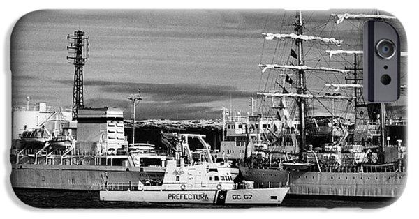 Coastguard iPhone Cases - prefectura naval argentina boat gc 67 rio uruguay patrolling Ushuaia harbour Argentina iPhone Case by Joe Fox