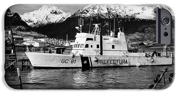 Coastguard iPhone Cases - prefectura naval argentina boat gc 81 canal beagle patrolling Ushuaia harbour Argentina iPhone Case by Joe Fox