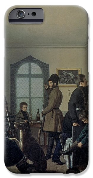 Hunter iPhone Cases - Preparations For Hunting, 1836 iPhone Case by Jevgraf Fiodorovitch Krendovsky