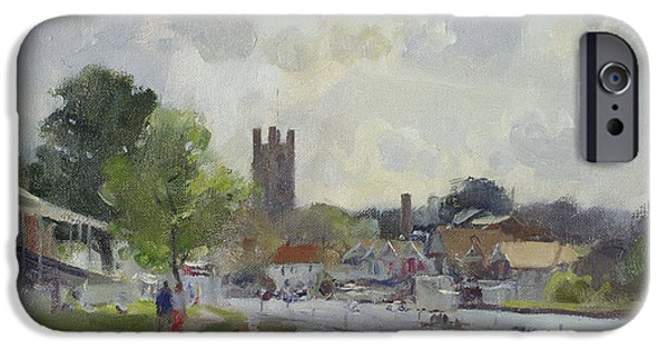 River iPhone Cases - Preparing For The Henley Regatta, 1994 Oil On Canvas iPhone Case by Trevor Chamberlain