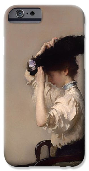 Dressing Room Paintings iPhone Cases - Preparing for the Matinee iPhone Case by Edmund Tarbell