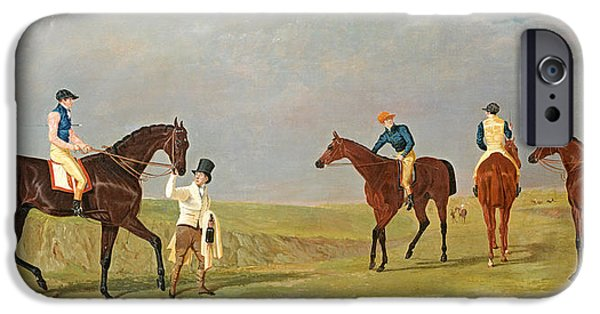 The Horse iPhone Cases - Preparing to Start for the Doncaster Gold Cup 1825 iPhone Case by John Frederick Herring Senior