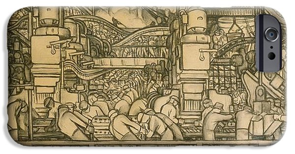 Technology Drawings iPhone Cases - Presentation drawing of the automotive panel for the north wall of the Detroit Industry Mural iPhone Case by Diego Rivera