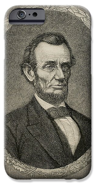 Lincoln iPhone Cases - President Abraham Lincoln 1809-1865. Engraving iPhone Case by Bridgeman Images