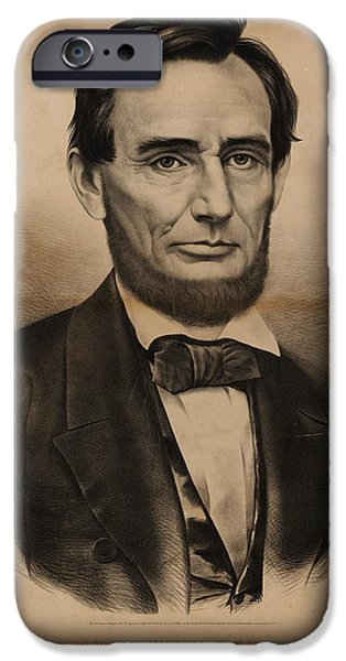 Currier iPhone Cases - President Abraham Lincoln Portrait iPhone Case by Currier and Ives