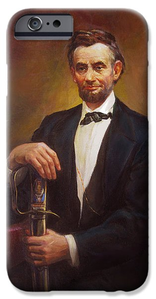 Democracy Paintings iPhone Cases - President Abraham Lincoln iPhone Case by Svitozar Nenyuk