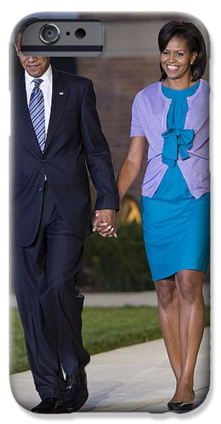 Michelle Obama Photographs iPhone Cases - President and First Lady iPhone Case by JP Tripp