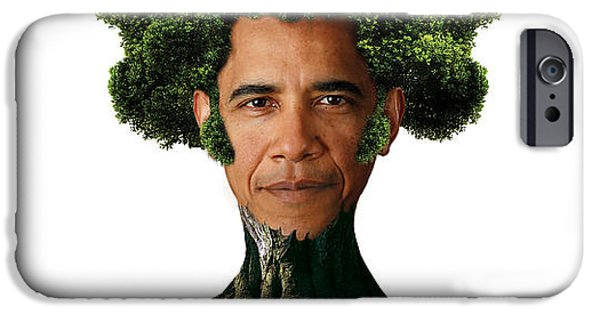 President Obama iPhone Cases - President Barack Obama as a tree iPhone Case by Marian Voicu