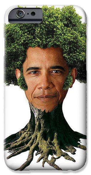 President Barack Obama as a tree iPhone Case by Marian Voicu