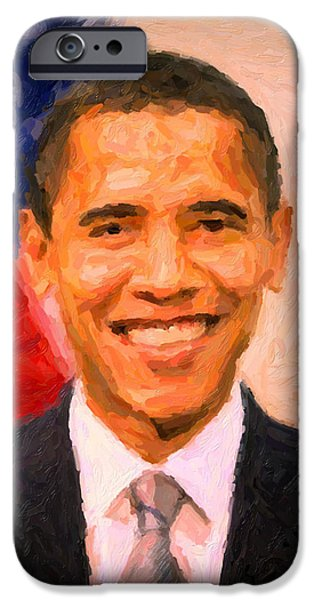 Barack Obama iPhone Cases - President Barack Obama iPhone Case by Celestial Images