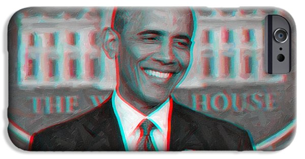 Barack Obama iPhone Cases - President Barack Obama in 3D iPhone Case by Celestial Images