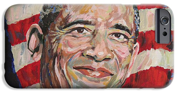 44th President iPhone Cases - President Barack Obama Portrait iPhone Case by Robert Yaeger