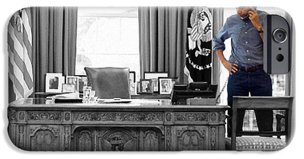 Obama Mixed Media iPhone Cases - President Barack Obama iPhone Case by Michael Braham