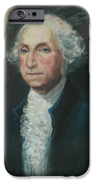 Constitution iPhone Cases - President George Washington iPhone Case by Kaziah Hancock