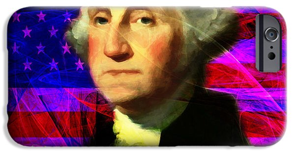 4th July iPhone Cases - President George Washington v2 m123 square iPhone Case by Wingsdomain Art and Photography