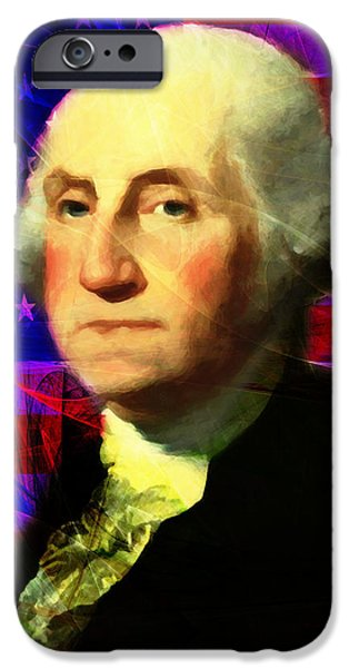 President George Washington v2 m123 square iPhone Case by Wingsdomain Art and Photography