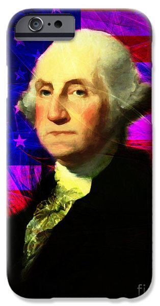 Fourth Of July iPhone Cases - President George Washington v2 m123 iPhone Case by Wingsdomain Art and Photography