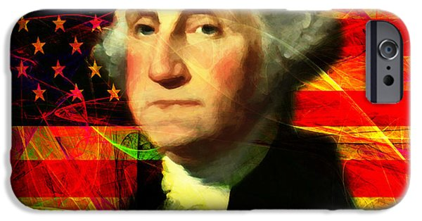 4th July iPhone Cases - President George Washington v2 m20 square iPhone Case by Wingsdomain Art and Photography