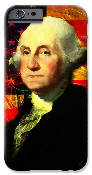 Fourth Of July iPhone Cases - President George Washington v2 m20 iPhone Case by Wingsdomain Art and Photography