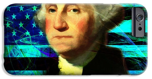 July 4th iPhone Cases - President George Washington v2 p138 square iPhone Case by Wingsdomain Art and Photography