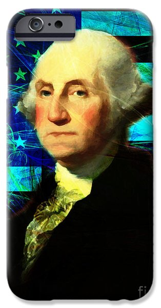 4th July iPhone Cases - President George Washington v2 p138 iPhone Case by Wingsdomain Art and Photography