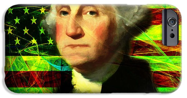 4th July Digital Art iPhone Cases - President George Washington v2 p50 square iPhone Case by Wingsdomain Art and Photography