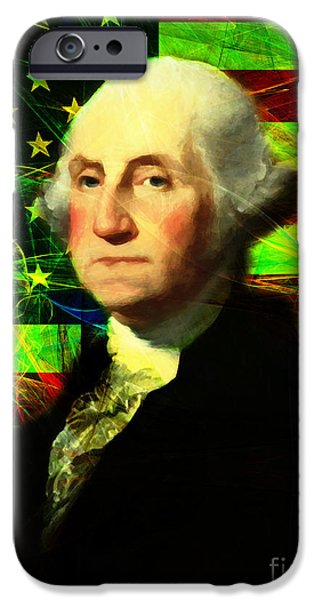 Fourth Of July iPhone Cases - President George Washington v2 p50 iPhone Case by Wingsdomain Art and Photography
