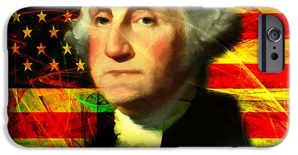4th July iPhone Cases - President George Washington v2 square iPhone Case by Wingsdomain Art and Photography