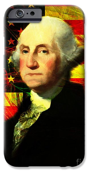 Fourth Of July iPhone Cases - President George Washington v2 iPhone Case by Wingsdomain Art and Photography