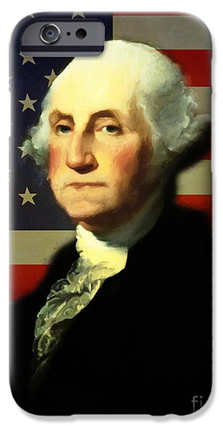 Fourth Of July iPhone Cases - President George Washington v4 iPhone Case by Wingsdomain Art and Photography