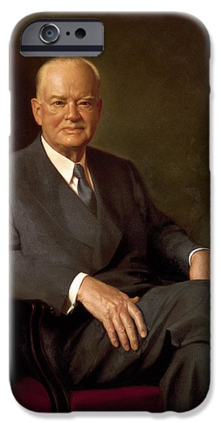 Quaker Paintings iPhone Cases - President Herbert Hoover by Elmer Wesley Greene iPhone Case by Movie Poster Prints