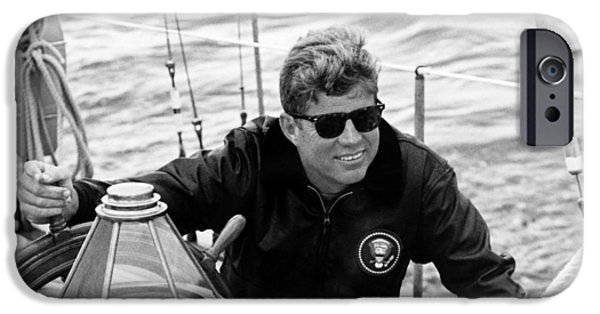 Yachts iPhone Cases - President John Kennedy Sailing iPhone Case by War Is Hell Store